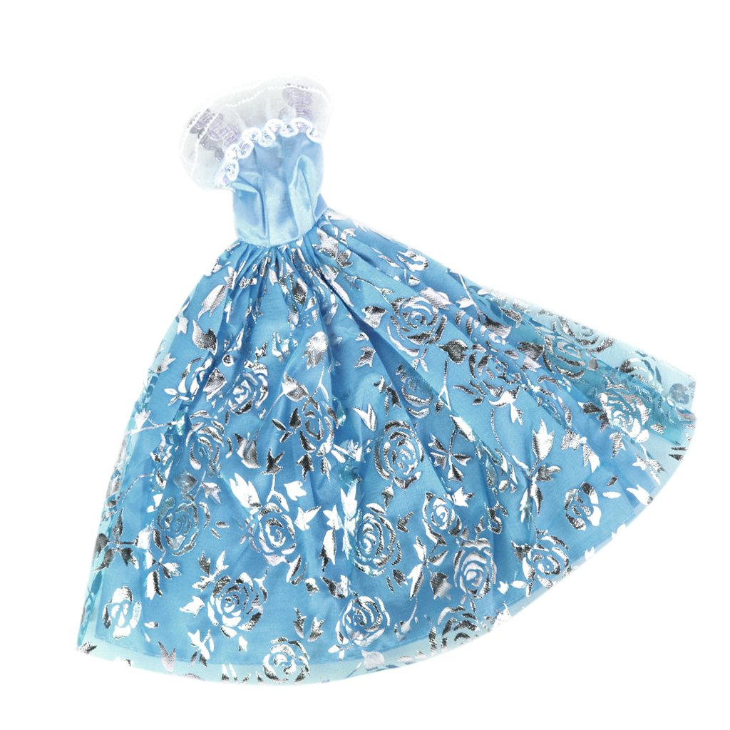 Light Blue Bridal Wedding Lace Dress with Silver Rose Print for Barbie Doll Generic