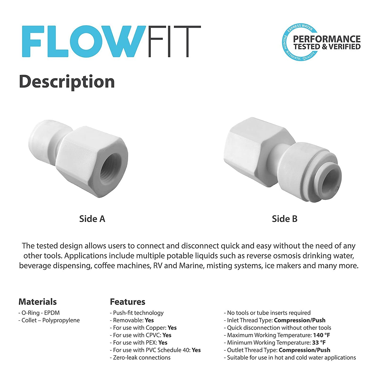 Express Water Faucet Adapter 1//4 x 7//16 Fitting Connections Parts for Water Filters//Reverse Osmosis RO Systems