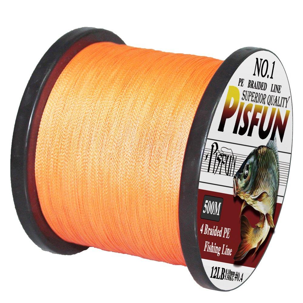 Pisfun SuperPower 500 m(547ヤード) / 1000 m(1100ヤード) 編組海水釣り糸 ライン 4ストランド 14-80ポンド アドバンスドスーパーライン グリーン オレンジ グレー イエロー ホワイト ブルーの色 B015SRWM0U  オレンジ 27LB(0.23mm)10.50KG(1000M/1100 Yds)