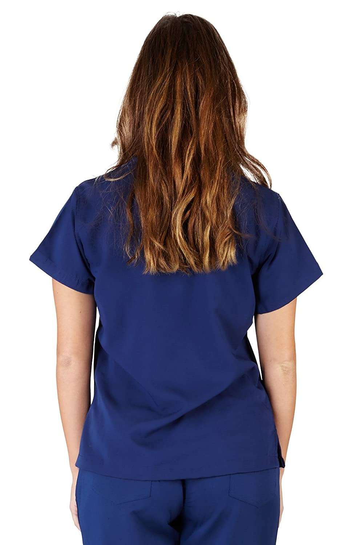 6b36d2037e8 Amazon.com: UltraSoft Premium Ladies 1 Pocket V-Neck Medical Scrub Top For  Women - FULLER CUT: Clothing