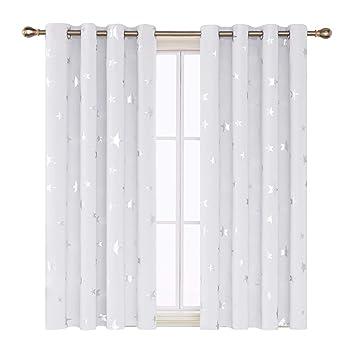 Deconovo Vorhang Kinderzimmer Gardinen Sterne Vorhang Blickdicht Ösen  Gardinen Weihnachten 138x140 cm Weiß 2er Set
