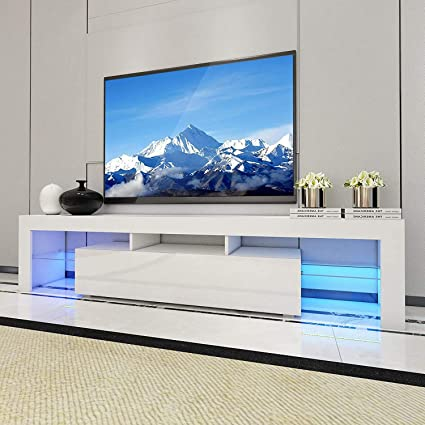 Kiwifruit 2000mm Tv Stand Unit Led Tv Cabinet Small Entertainment Center For Up To 70 Inch Smart Tv Flat Media Cabinet W Storage And Shelves For Living Room Bedroom And Lounge Room Amazon Co Uk