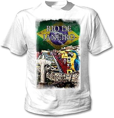 teesquare1st Brazil Rio de Janeiro City Camiseta Blanca para Hombre de Algodon: Amazon.es: Ropa y accesorios