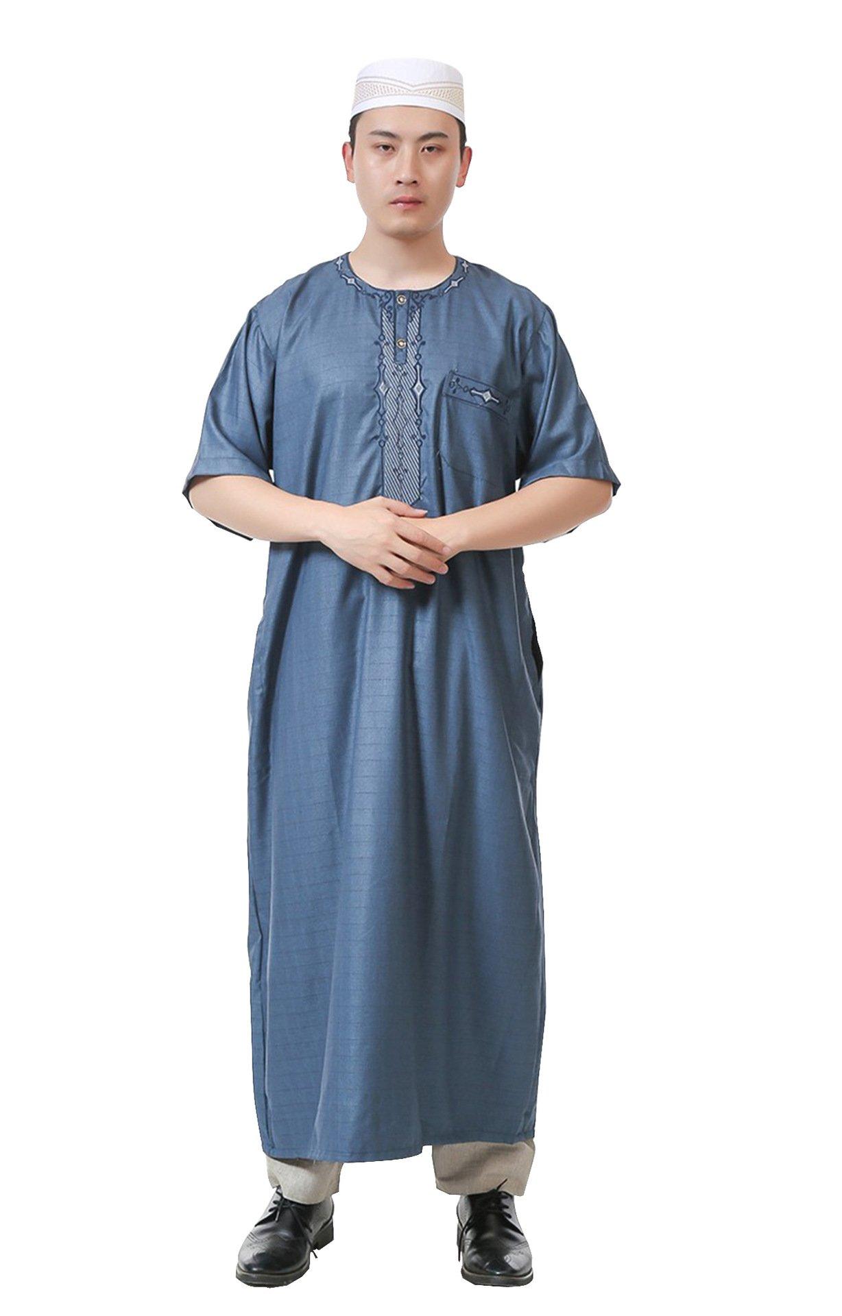 GladThink Men's Arab Muslim Islamic Church Worship Long Thobe with Short Sleeves Lakeblue 56