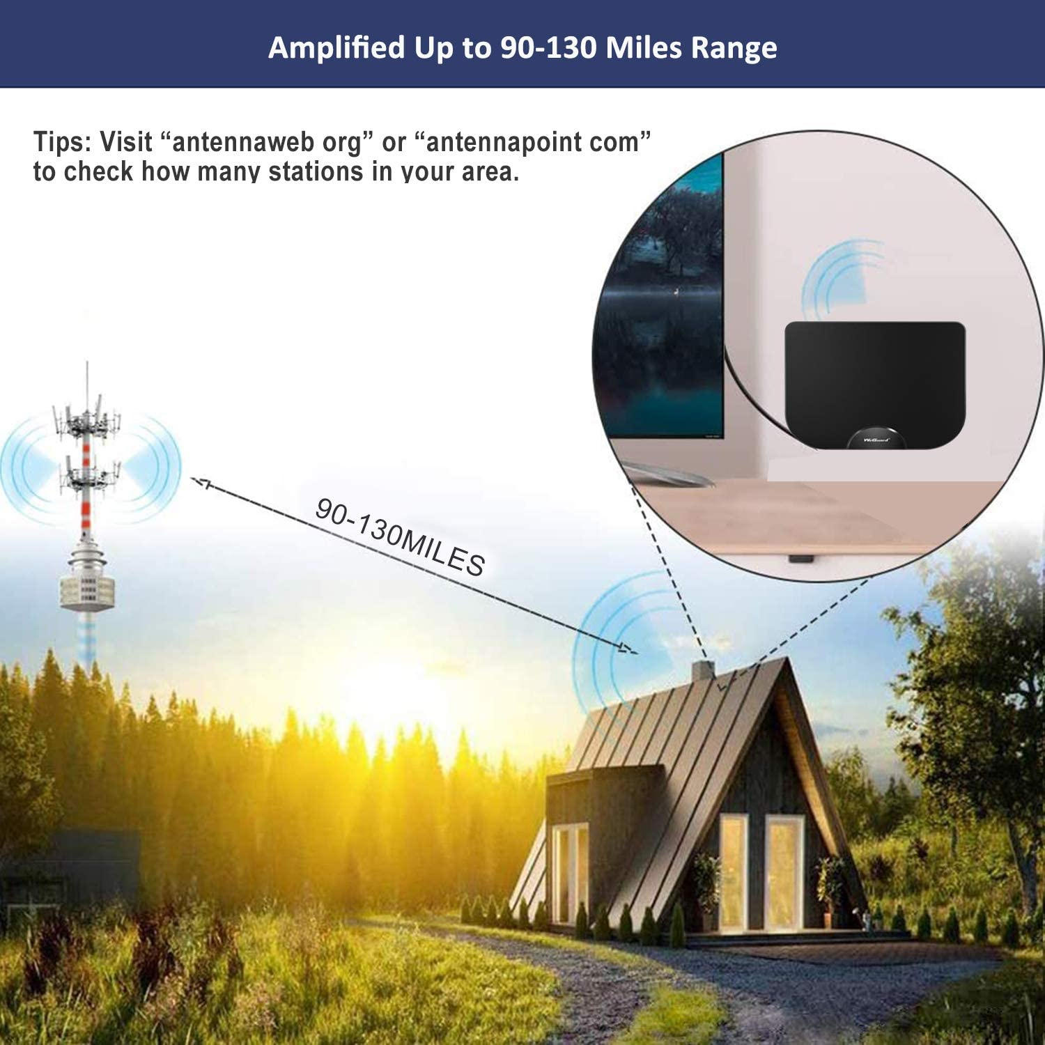 WeGuard TV Antenna HDTV Antenna Support 4K 1080P VHF UHF Freeview Channels Antenna with Amplifier Signal Booster 90-120 Miles Range Digital Antenna for HDTV 18 Ft Premium Coaxial Cable