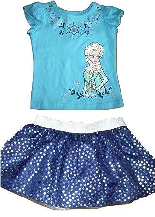 064ad7faabe3b Disney Girls Frozen Elsa Top & Tutu Skirt Shorts Set Tropical Blue (Age 2-