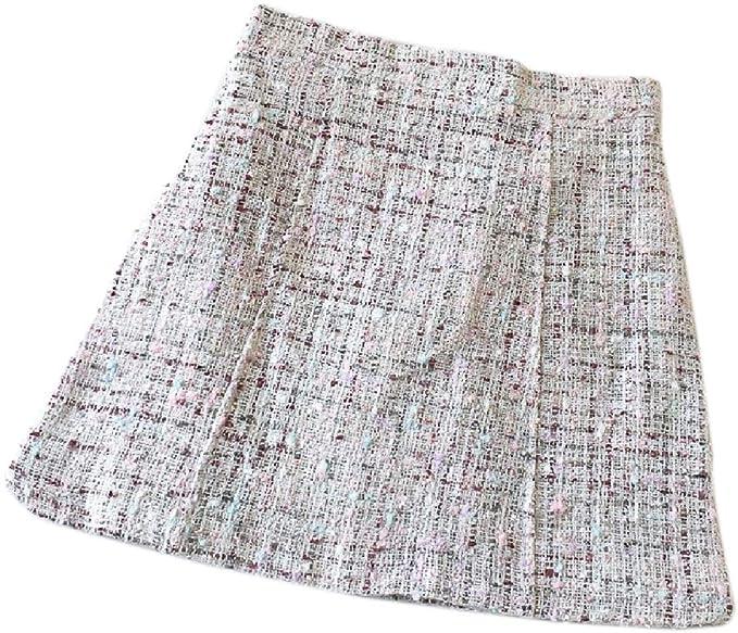 SOWTKSL Falda de Pata de Gallo con Cintura Alta y Mini Faldas de ...