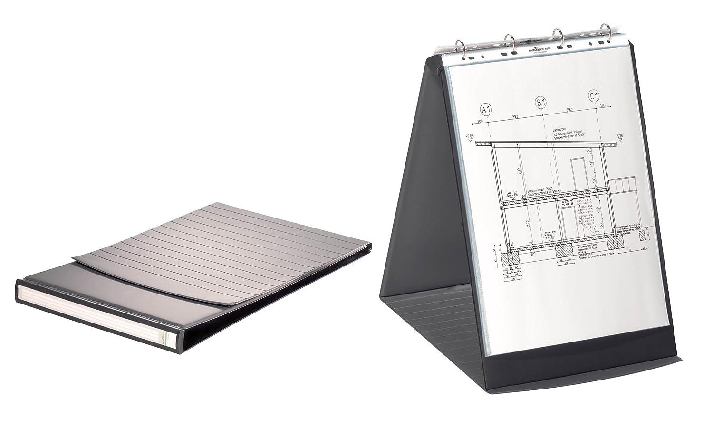 465x330x40 mm raccoglitore da banco per presentazioni 4 anelli 10 buste removibili f.to A3 verticale grafite DURABLE 856839 Durastar