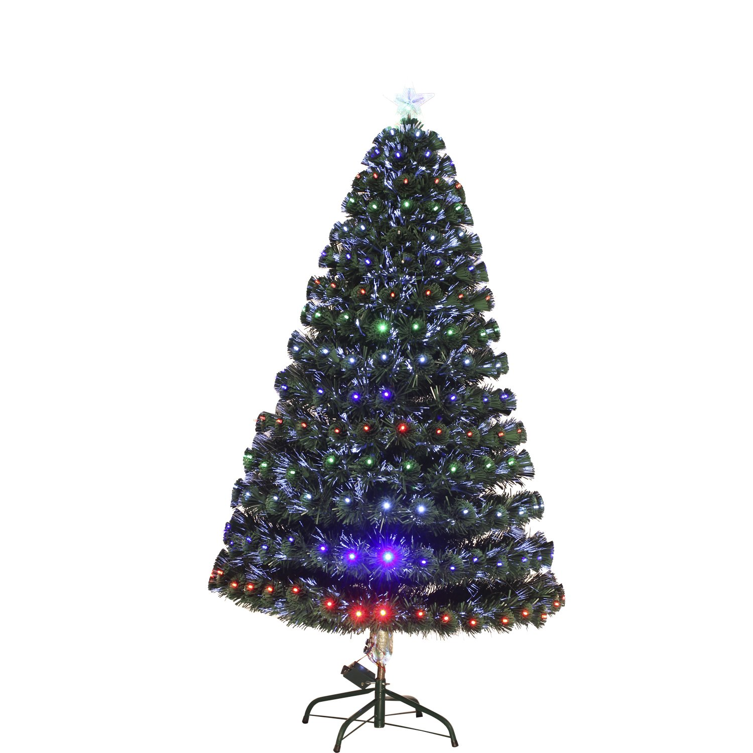 5ft Green Fibre Optic Christmas Tree Rainforest Islands Ferry Homcom