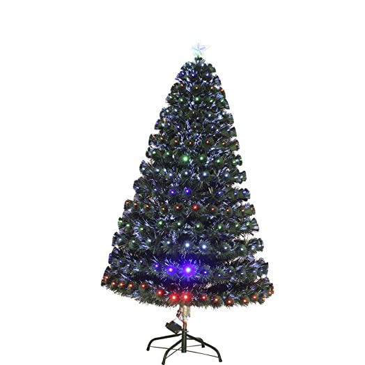 Homcom 3ft 4ft 5ft Green Fibre Optic Artificial Christmas Tree  - Fibre Optic Christmas Tree Uk Only