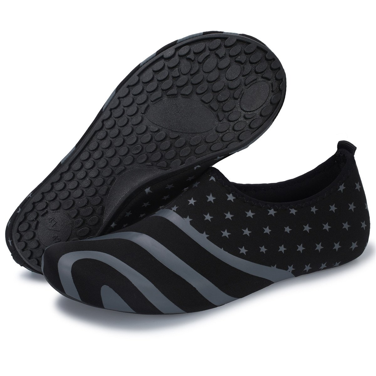 Barerun Durable Sole Barefoot Water Skin Shoes Aqua Socks for Women Men Black 6.5-7.5 B(M) US …