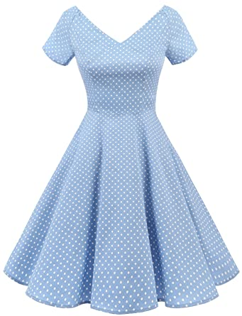 6aac458918a Gardenwed Women's V-Neck 1950s Vintage Cocktail Swing Dress Retro  Rockabilly Party Dress Short Sleeves