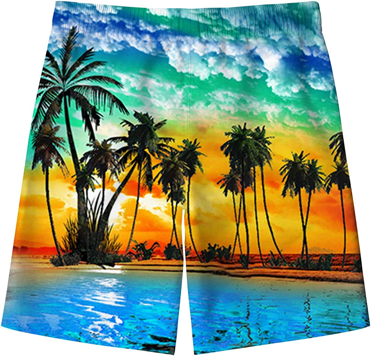 Spreadhoodie Boys Swimming Trunks 3D Printed Hawaiian Teenager Funny Swim Shorts Quick Dry Swimwear Kids Board Trunks with Two Side Pockets 5-16 Years