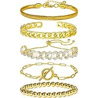 5 Pcs Chain Link Bracelet For Women,14K Gold Plated Dainty Adjustable Cuban Paperclip Bead Bracelets Bangle For Women…