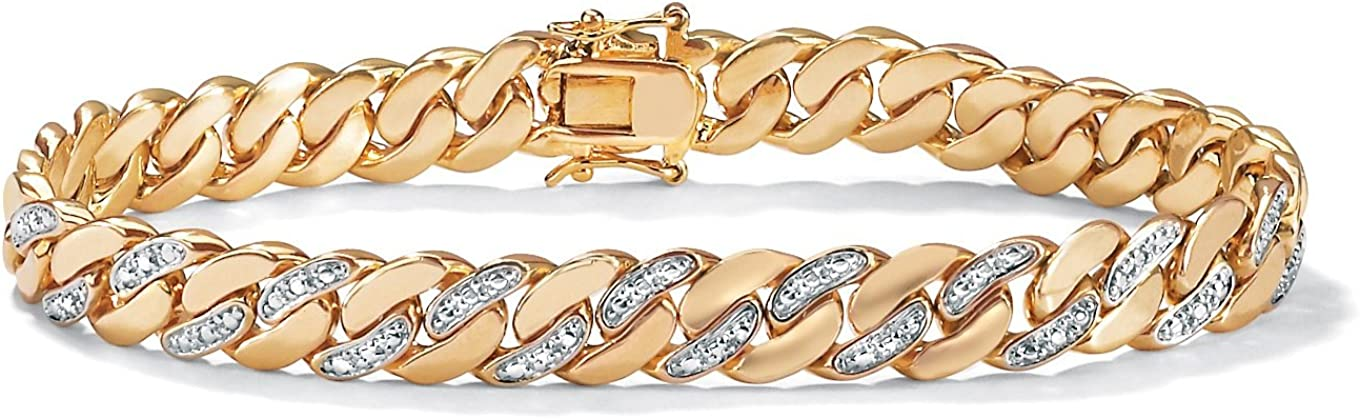 Palm Beach Jewelry Men's 18K Yellow Gold Plated Genuine Diamond Accent Curb Link Bracelet (9mm), Box Clasp, 9.5 inches