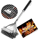 POLIGO BBQ Grill Brush and Scraper Bristle Free - 18inch Stainless Steel BBQ Cleaning Brush - with Super Wide Scraper for Eff