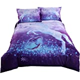 Alicemall 3D Unicorn Bedding Elegant White Unicorn Butterfly Flying Snowflake Print Duvet Cover Set, Soft and Breathable 4 Pieces Purple Bedding Set, Twin Size Kids' Bed Set (Twin, Purple Unicorn)