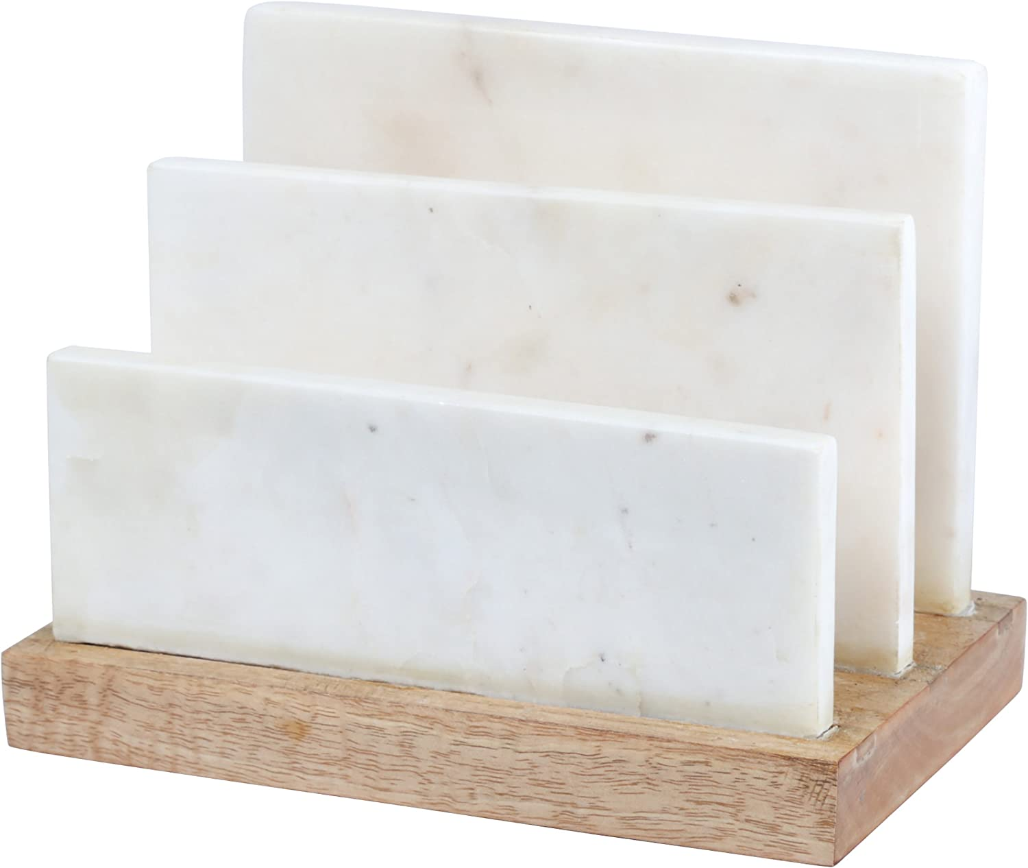 """Creative Home Natural Marble and Mango Wood Letter and Document Sorter, Organizer, 7-1/2"""" x 4-3/8"""" x 5-7/8"""" H, Off-White (Patterns May Very)"""