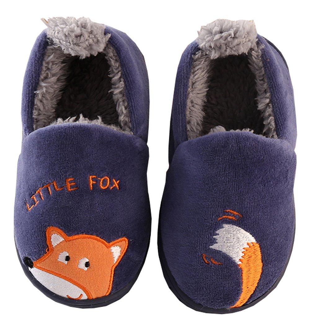 D.S.MOR Toddler Navy Fox Velvet House Shoes Warm Children Shoes (8 M)