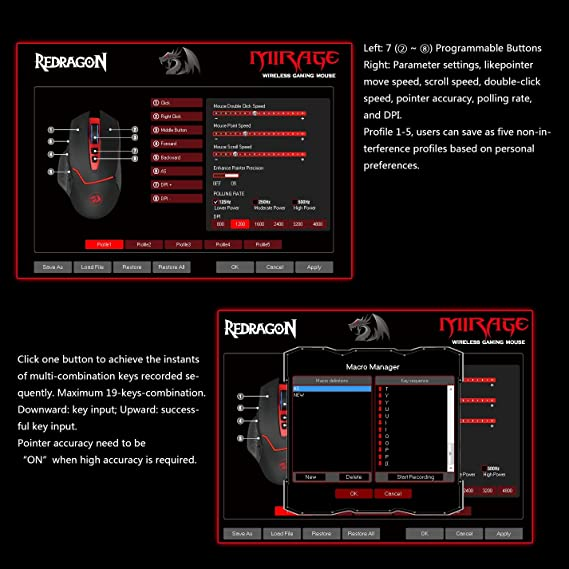 Redragon 4800DPI 2 4GHz Wireless Adjustable Gaming Mouse