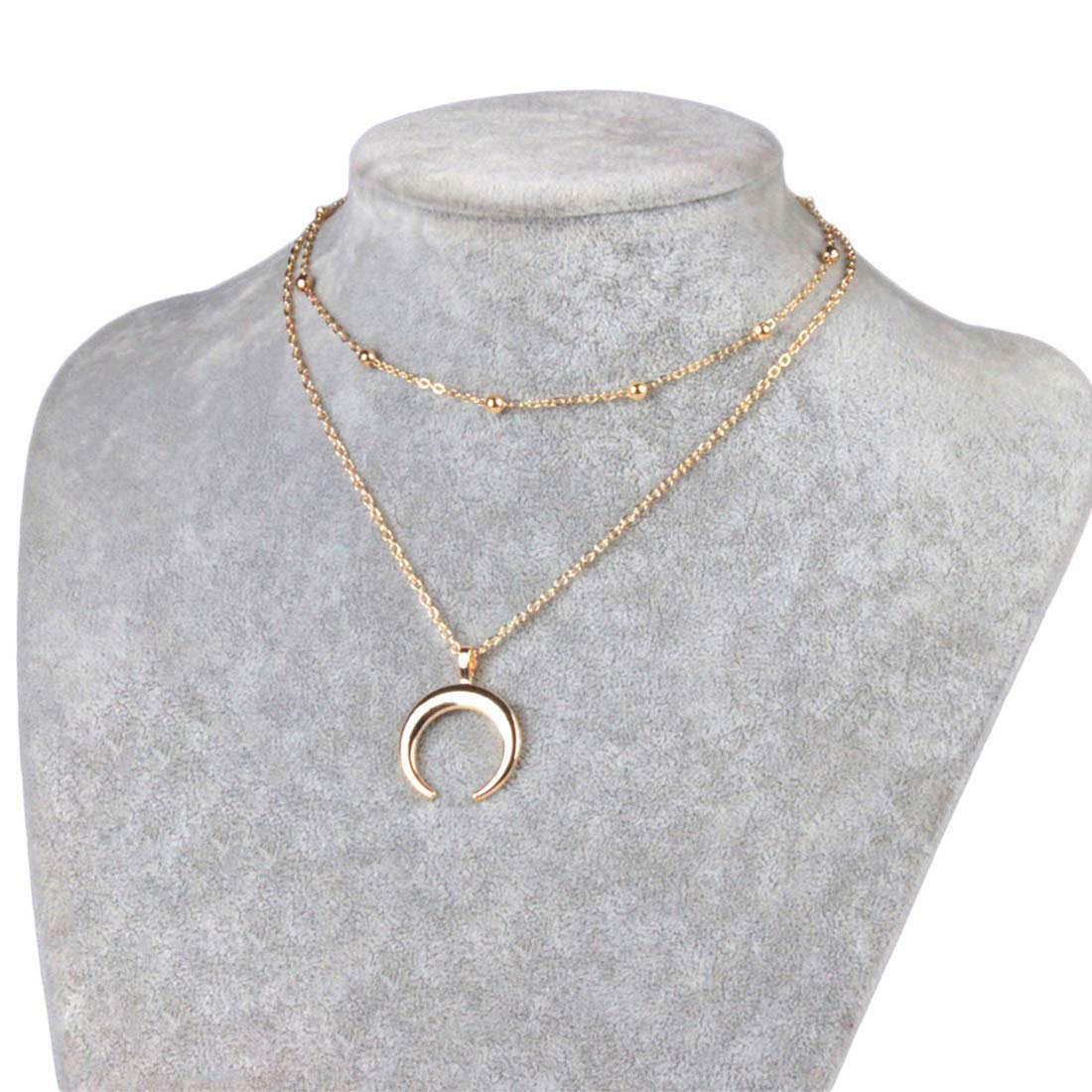 MOCANALA Moon Layered Necklace, Gold Horn Pendant Crescent Moon Pendant Chain Necklace Multilayer Beaded Ball Chain Choker Necklace for Women (Moon Pendant)