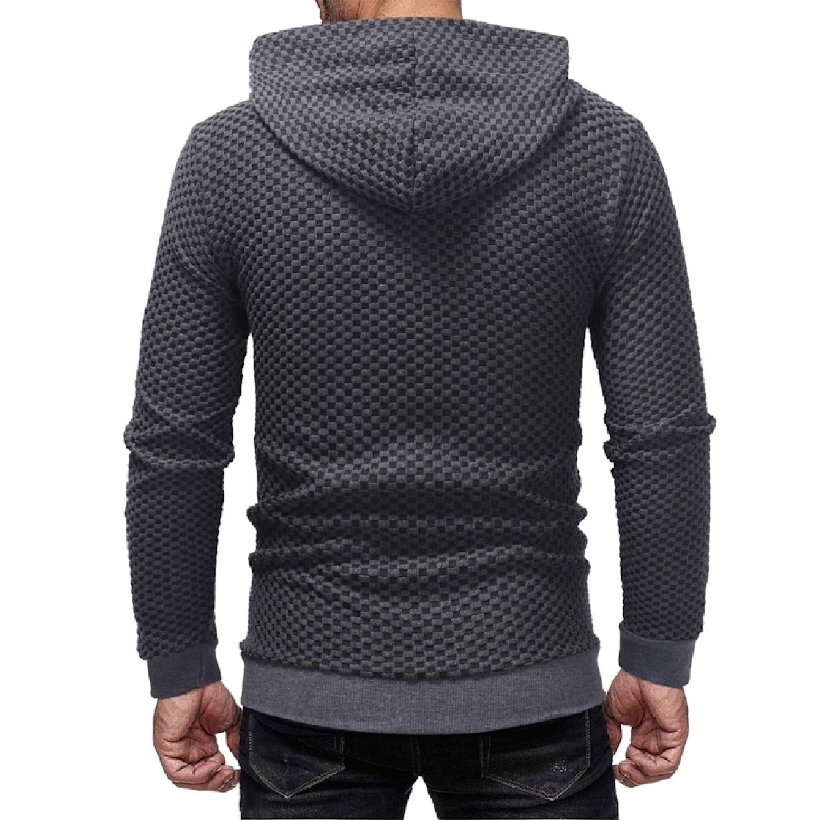 Winwinus Mens Zip-up Hood Cardi Long-Sleeve Outwear Plaid Sweatshirts