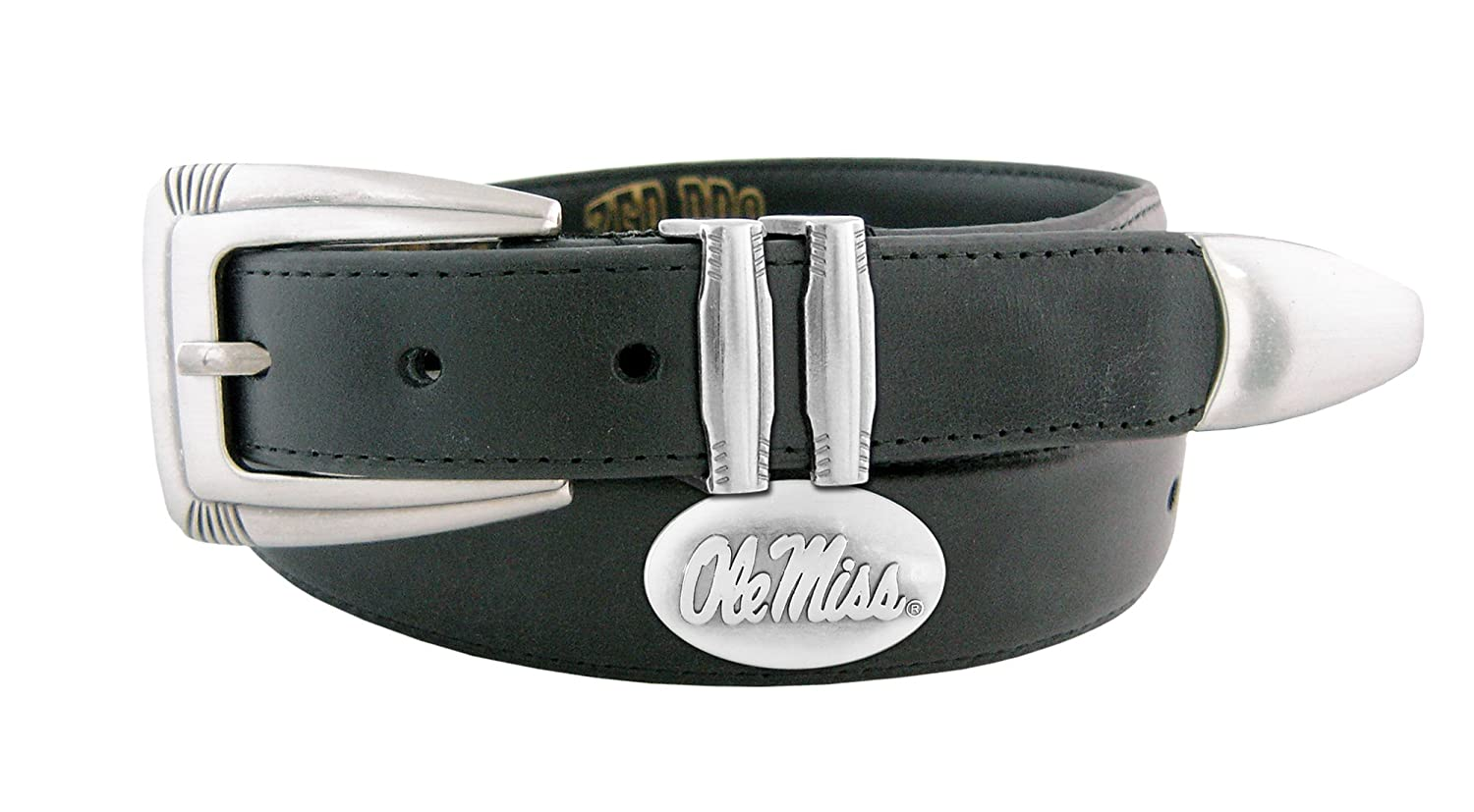 NCAA Mississippi Old Miss Rebels Zep-Pro Leather Concho Tapered Tip Belt Tan 34-inches UMS-BBLPT-Black-34