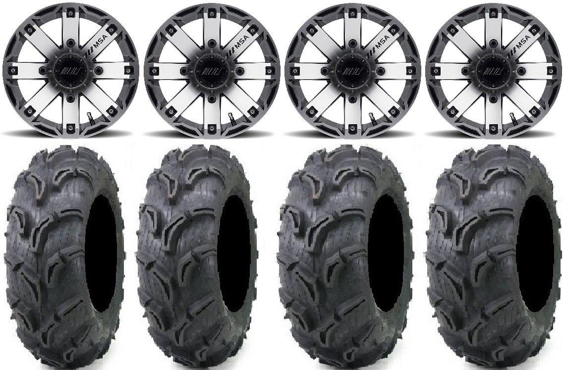 Bundle - 9 Items: MSA Machined Rage 12'' ATV Wheels 25'' Zilla Tires [4x110 Bolt Pattern 12mmx1.5 Lug Kit]