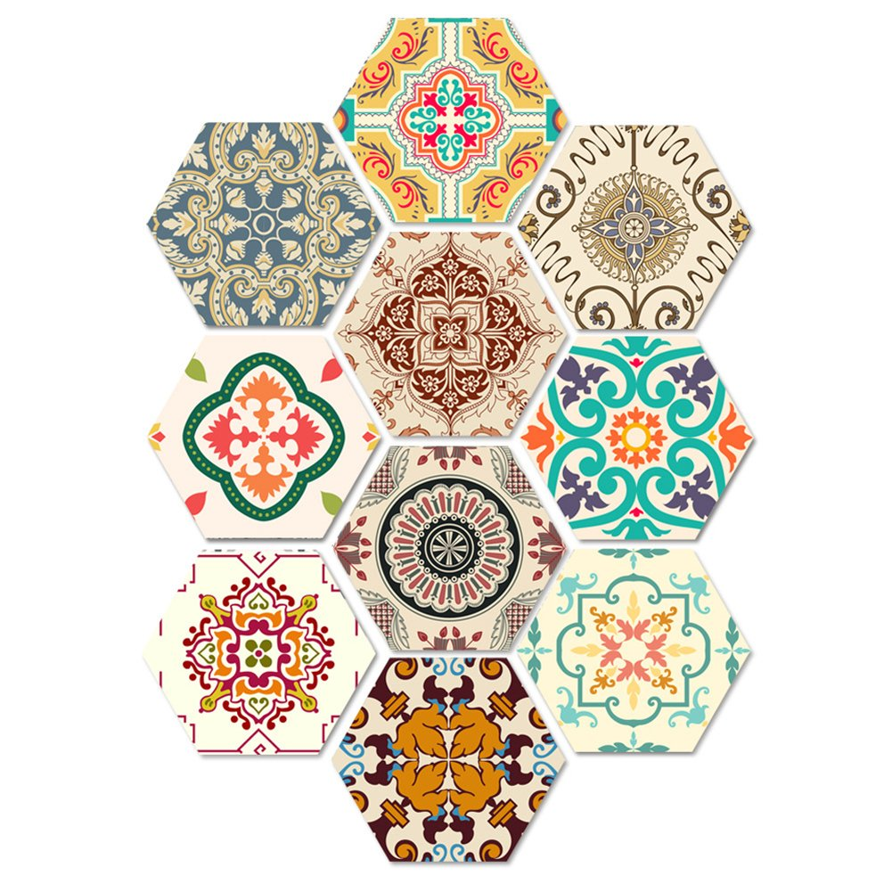 10PCS Innovative Retro Floor Tile Stickers Baroque Style Waterproof Bathroom Wall Stickers Home Decoration