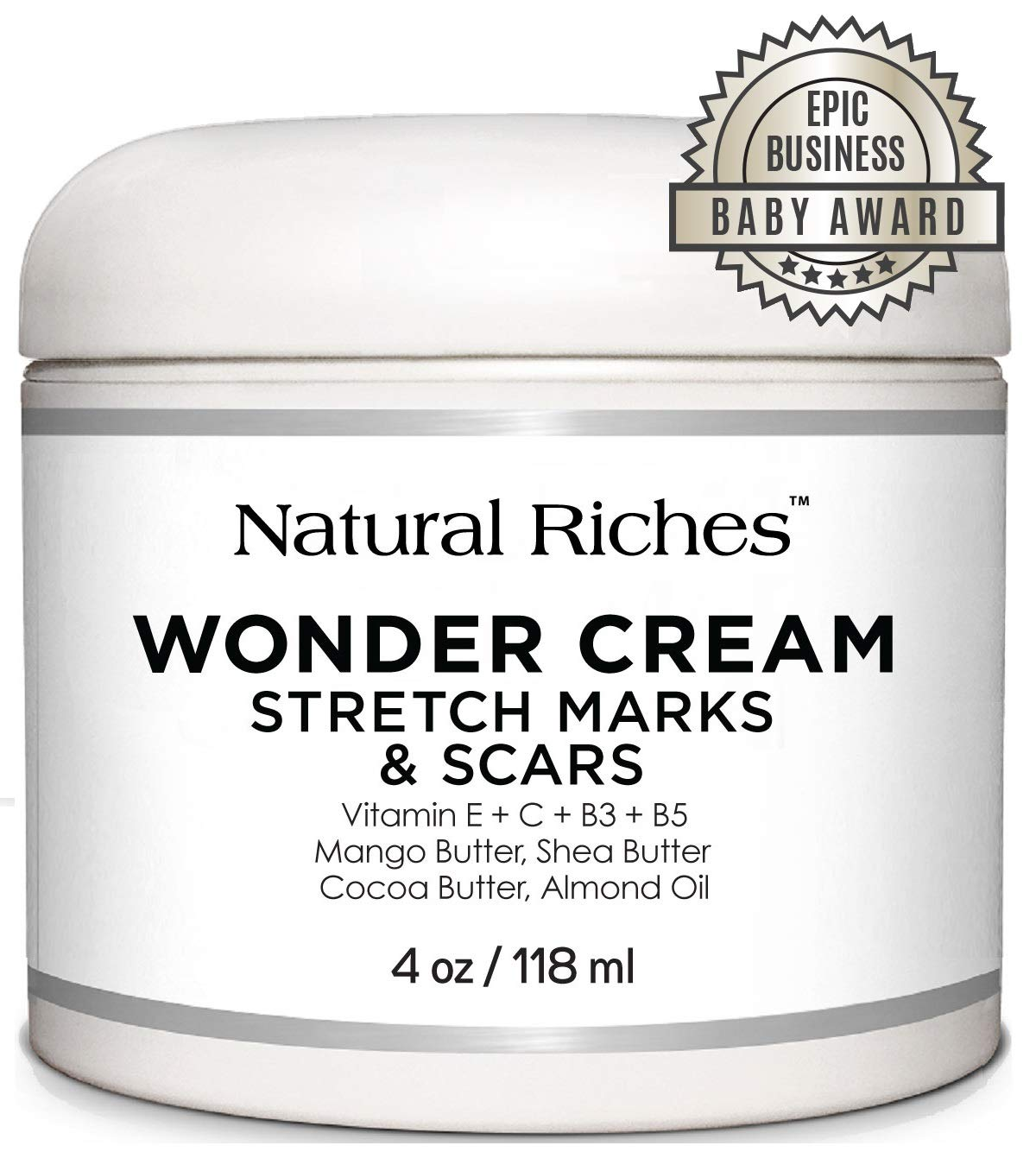 Stretch Marks & Scar Removal Cream, from Natural Riches - 4 oz - 100% Natural, Reduces the Appearances of Keloids, Pregnancy Stretch Marks and scars, helps in Firming & Tightening Skin by Natural Riches
