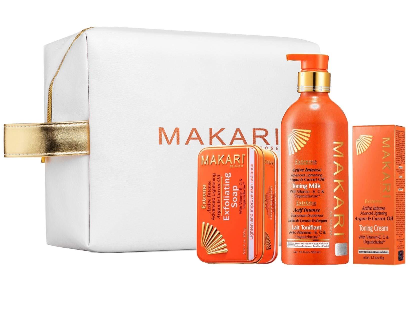 Makari Extreme Carrot & Argan Oil Skin Lightening, Brightening & Tightening Toning Gift Set - Includes Body Milk, Cream, Exfoliating Soap, With MAKARI COSMETIC BAG by MAKARI