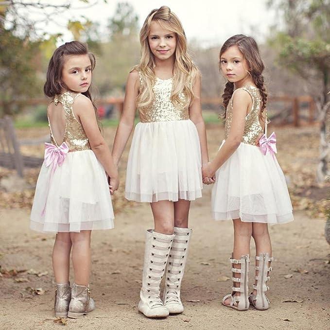 Vestidos niñas,Switchali Niños Lentejuelas bebe nina Bowknot Vestido Escotado por detrás Vestido de fiesta