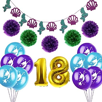 Mermaid 18th Birthday Decorations Shell Banner Flowers Paper Pom Foil Balloon With Latex