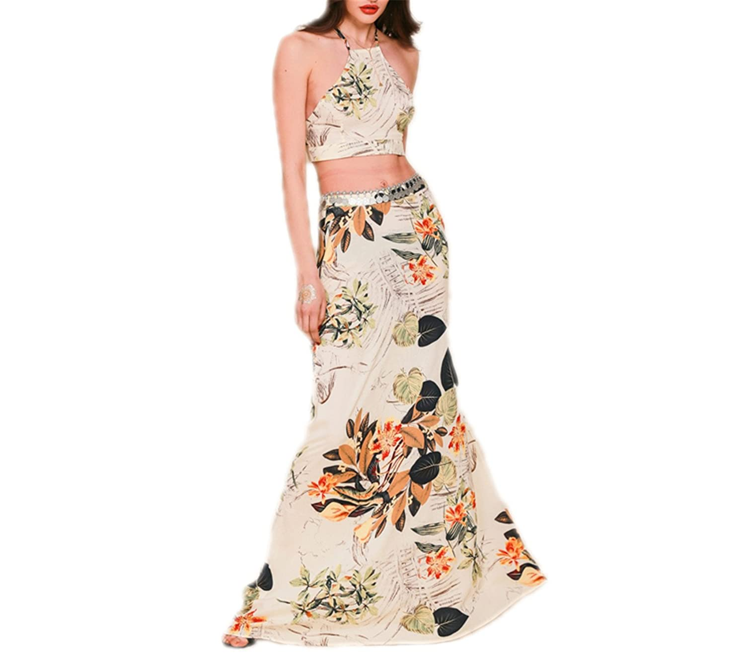 Amazon.com: SuperBlu Fashion Apparel NEW summer boho style Flower print long dress Two pieces backless halter cross women maxi dress vestidos: Clothing
