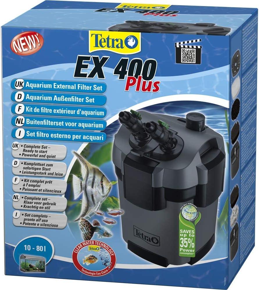 TETRA EX 400 Plus - Filtre Extérieur pour tout type d'aquarium de 10 à 80L – Performant, puissant, silencieux – 5 types de filtration – Fonction de préfiltration