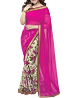 Nirjas Designer Women's Chiffon Saree With Blouse Piece (Aisha Pink_A_Pink)