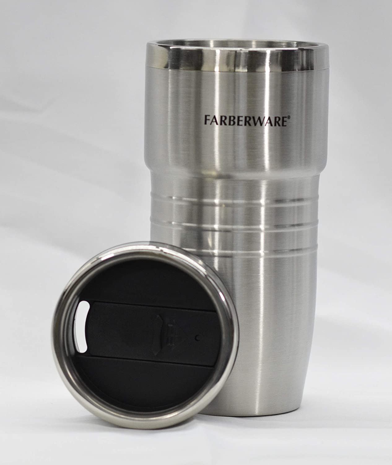 Farberware 16 oz Stainless Steel Double Wall Tumbler, Vacuum Insulated Travel Coffee Mug with Magslider Lid for Home, Office Outdoors Hydro Flask Cups for Ice Drinks and Hot Beverage (No Handle)