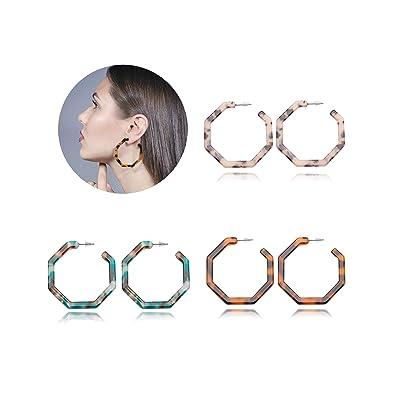 3 Pairs Acrylic Resin Drop Hoops Earrings for Women Fashion Boho Octagon  Statement Dangles Stud Earrings