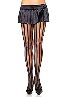 382ebe3c45f Amazon.com  Leg Avenue Womens Black Striped Lace Top Stockings  Clothing