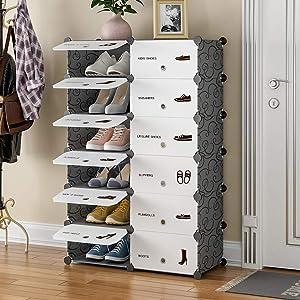 GEORGE&DANIS Portable Shoe Rack Organizer, Shoe Shelf Cabinet 12 - Pair Shoe Storage, Expandable Shoe Rack for Closets Entryway, 12 Grids Black