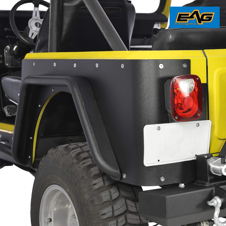 EAG Off Road Black Textured Rear Corner Rocker Guard Fit for 97-06 Jeep Wrangler TJ by EAG