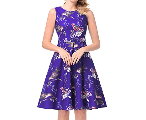 8e9efa9cc3fc Explosion 2018 Spring A-line Skirt Hepburn Print Dress at Amazon ...