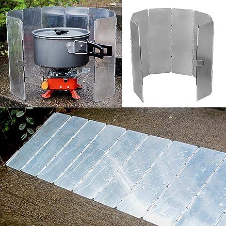 Riverry Aluminio Que acampa Pantalla de Viento Estufa de ...