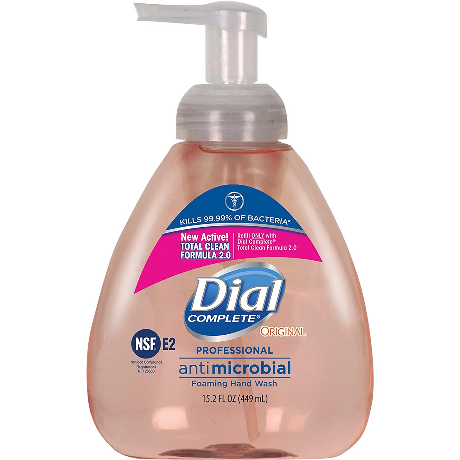 Dial Complete 1437345 Original Professional Healthcare Antimicrobial Foaming Hand Soap with Tabletop Pump, 15.2oz Bottle (Pack of 4)
