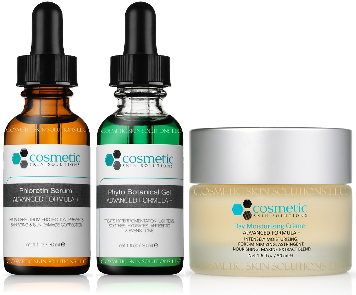Prevent | Lighten & Hydrate | Moisturizer | 3 Combo Pack - Highest Quality Topical Antioxidants, Includes Phloretin - (1 oz), Phyto Botanical Gel -(1 oz), Moisturizer - Pore-minimizing (50g)
