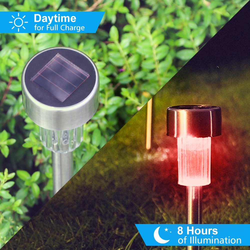 BASEIN Solar Garden Lights, Solar Lights Outdoor Pathway - Stainless Steel Landscape LED Lights for Patio, Lawn, Yard, Walkway (10 Pack) by BASEIN (Image #4)