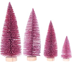 Napoo 4 Pieces Artificial Mini Snow Pine Tree Desktop Decorations, Christmas Bottle Brush Trees Miniature Accent Dining Table Top Centerpiece Ornaments Baby Shower (Pink)