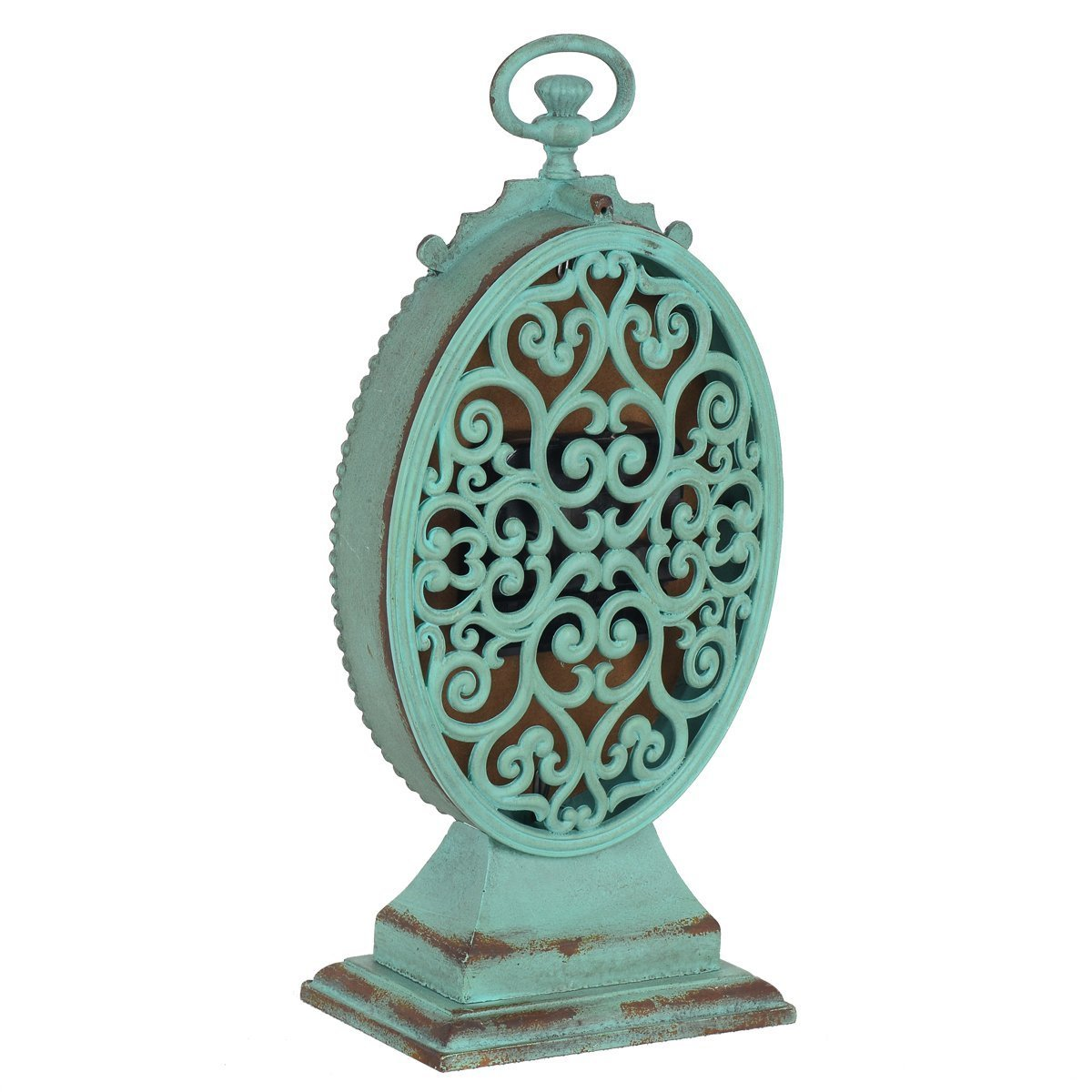 NIKKY HOME Shabby Chic Pewter Round Table Clock Distressed Style Green