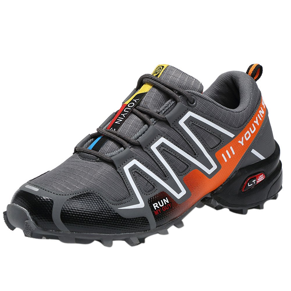 Hunzed Men【Thick-Soled Non-Slip Sneakers】 Men Running Shoes Hiking Shoes Athletic Outdoor Sports Shoes Gray by Hunzed men shoes