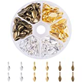 PandaHall Elite 100 Pcs Tibetan Style Alloy Glue on Flat Pad Bails Leaf Shape Pendants Charms Connector Hanger 21x8x6mm for Jewelry Making 3 Colors
